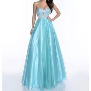 Long blue pageant ball gown